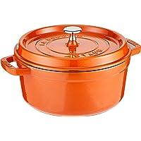 Staub 珐宝 珐琅圆形铸铁炖锅,4夸脱 约3.8升 直径24厘米 Burnt Orange/Cinnamon