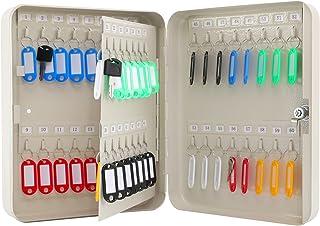 KYODOLED 钥匙柜壁挂支架,锁钥匙收纳箱,带钥匙锁,钥匙管理,带钥匙锁,60 个钥匙钩和标签钥匙实验室,11.8 英寸 x 9.5 英寸 x 3 英寸(约 30.0 厘米 x 24.0 厘米 x 7.6 厘米)白色