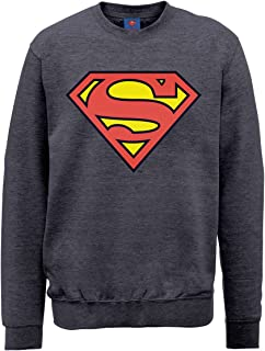 DC Comics 男式 DC0000666 官方超人盾圆领长袖运动衫