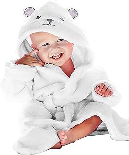优质竹制婴儿睡袍 - 新生儿必备品 - 2 层柔软婴儿浴袍(中性设计) - 男孩和女孩婴儿登记搜索必需品 白色