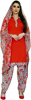 ladyline 女式即穿Salwar Kameez 人造绉纱印花印度缝制纱丽西装 Mango (34) 46