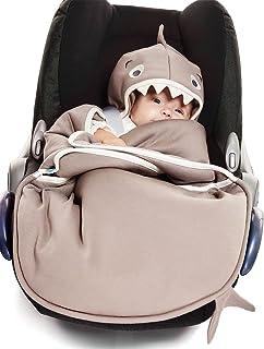 Wallaboo 通用婴儿提篮 汽车座椅 适用于婴儿车、婴儿车、婴儿床、漂亮的花朵形状,棉,90 x 70 厘米,0 - 12 个月,颜色:灰褐色