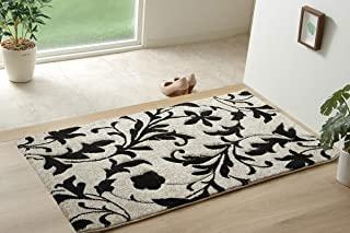 IKEHIKO 地毯地垫 玄关 地垫 土耳其 威尔顿 织法 卡宾 约70×120厘米 黑色 *防臭 * 不易变形 优雅 #2051179