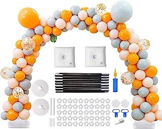 气球拱形套装,9 英尺(约 2.4 米)高 & 10 英尺(约 2.4 米)宽可调节塑料气球柱支架套装