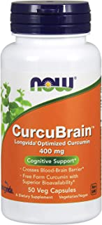 NOW CurcuBrain 素食胶囊补品,包含Longvida优化姜黄素,50粒,400毫克