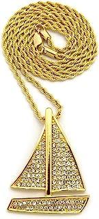 男士金船用镀金吊坠盒,卷边,古巴链条 HIP HOP 项链