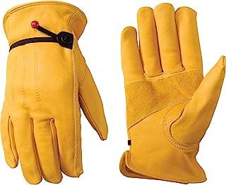 Leather Work Gloves with Wrist Closure, DIY, Yardwork, Construction, Motorcycle, Medium (Wells Lamont 1132M)