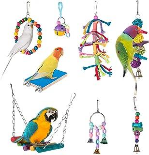 Tu 鸟秋千玩具 - 8 件装,鹦鹉咀嚼悬挂鲈鱼带铃铛,宠物鸟笼玩具适合小长尾鹦鹉,鹦鹉,金刚鹦鹉,鳍