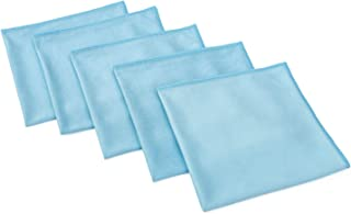 "THE RAG COMPANY 高级窗户、玻璃、镜面和镀铬专业韩版 70/30 超细纤维无衬里,无痕细节毛巾 16"" x 16"" 蓝色 11111-KIT-PRO-1616-GLASS-5PK"