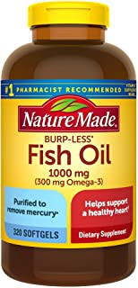 Nature Made 鱼油软胶囊,Burp-Less 1000毫克,320粒,鱼油Omega 3补充剂,有益于心脏