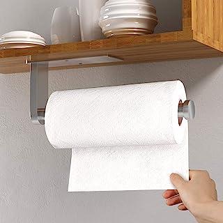 橱柜下纸巾架,自粘厨房毛巾架,壁挂式大卷纸毛巾架,SUS304 不锈钢毛巾卷分配器,适用于厨房壁柜(银色)