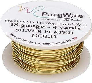 ParaWire 金色镀银铜工艺线 18 号 4 码(约 45.2 米)带透明保护涂层