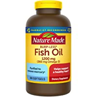 Nature Made Burp-Less Fish Oil 1200 mg Softgels, 300 Count f…