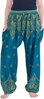 Lannaclothesdesign 女式波西米亚瑜伽孔雀抽绳泰哈伦裤
