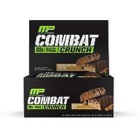 MusclePharm Combat Crunch 蛋白棒,20 克蛋白质,花生酱爱好者棒,12 支