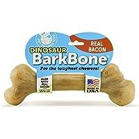 Pet Qwerks Dinosaur BarkBone REAL BACON狗狗咀嚼玩具,适合好斗的狗,牢固的咀嚼骨头…