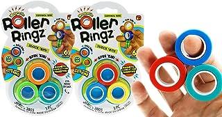 6 个磁性环玩具手指解压玩具(2 套,每套 3 个环)抗压手指环磁性旋转环,适合儿童和成人。*手部*感官解压。派对礼品和 1 张贴纸 3803-2s