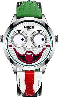 手表男士创意设计大表盘小丑石英腕表皮革防水运动小丑脸设计