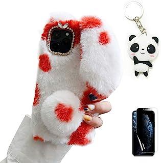 Artfeel 兔耳朵手机壳适用于 OnePlus Nord N10 5G 带屏幕保护膜,蓬松的 OnePlus Nord N10 5G 硅胶缓冲保护套毛绒兔子发球柔软温暖保护套带熊猫钥匙扣,红色