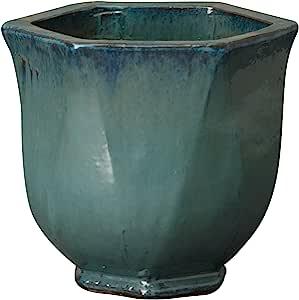 Emissary 家用和花园蓝*六角形花盆,14 英寸(约 35.6 厘米)高