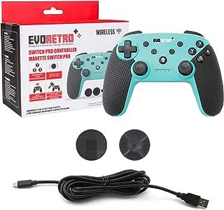 Evoretro 无线蓝牙任天堂 Switch Pro 控制器 - 无线控制器,PC 游戏垫,Joypad 遥控器带陀螺轴涡轮按钮 - (绿松石色)