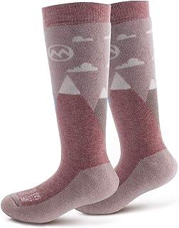 OutdoorMaster 儿童滑雪袜 - 美利奴羊毛透气混合,小腿 (OTC) 带防滑袖口,尺码 7-11.5 - 12-4 - 适合男孩和女孩(1 双或 2 双)