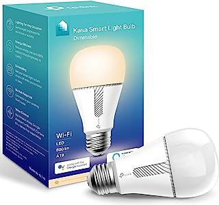 Kasa Smart KL110 灯泡,LED 智能 Wi-Fi Alexa 灯泡,适用于 Alexa 和 Google Home,A19 可调光,2.4GHz,无需集线器,800LM 软白色(2700K),10W(相当于60W)