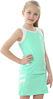 Willit 女童网球高尔夫背心和短裙棉质网球套装套装连衣裙带内置短裤