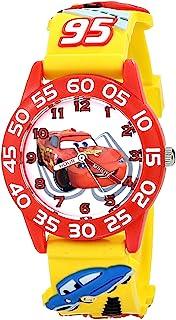 "Disney W001509""Time Teacher""3D 汽车手表黄色塑料表带"
