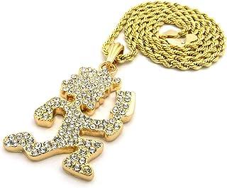 Shiny Jewelers USA 男士 Cz Hatchet Man 嘻哈吊坠 2 毫米 60.96 厘米盒子链项链 金色,银色,黑色