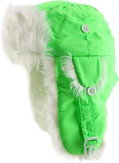 高可见度霓虹白色毛皮飞行员冬季兵帽