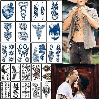 男士半永久纹身贴纸,临时纹身防水,持久 1-2 周,逼真的深蓝色假纹身贴纸 12 张和 10 张普通临时纹身贴纸(共 22 张)