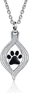 LuxglitterLin 泪珠心形水晶火葬骨项链 适用于宠物灰烬 纪念品 吊坠 珠宝