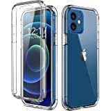 TOPSKY 兼容 iPhone 12 手机壳,内置屏幕保护膜全机身防震硬质重型保护,耐用强力防护手机壳,透明 iPho…