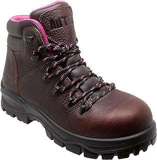 AdTec 女式 6 英寸(约 15.2 厘米)防水软鞋头工装靴,全粒面油皮革,防滑橡胶外底棕色工业