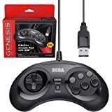 Retro-Bit 官方 Sega Genesis USB 控制器 8 键街机垫 适用于 Sega Genesis Mi…