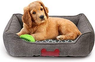 Fluffy Paws 宠物床箱垫高级床上用品带内垫,适合狗/猫[豪华毛绒系列],炭灰色粗麻布床 - 大号 76.2 厘米 x 58.4 厘米 x 17.8 厘米