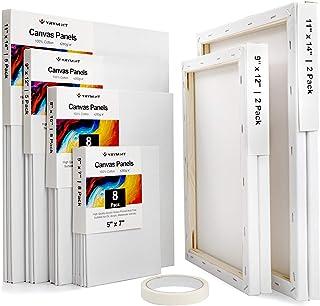 油画板 - 包括 26 块帆布板,4 块拉伸白色空白画布和 1 块胶水,适用于亚克力、油、其他潮湿或干燥艺术媒体,适合艺术家