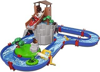AquaPlay 8700001647 Adventureland 水道与山、塔和水库玩具套装包括 2 个动物公仔、摩托艇和快艇,适合 3 岁及以上儿童,多色
