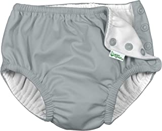 i play. by green sprouts 中性婴儿按扣可重复使用游泳尿布, 灰色, 24-3T