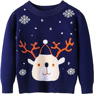 幼儿男孩女孩圣诞毛衣针织套衫圣诞驯鹿麋鹿雪人卡通运动衫上衣