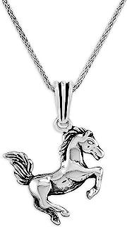 chimoda 男士项链 925 纯银项链 24 英寸银链项链长度,男士珠宝项链,马主题吊坠男士项链