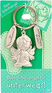 Depesche 7518-009 守护天使钥匙扣,金属制成,幸运符带天使,钥匙圈和爱的信息,作为礼物送给家人,朋友和熟人,银色