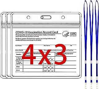 CDC 疫苗卡夹保护套 - 3 件装 CDC 疫苗接种卡保护套 - 塑料套 - 疫苗卡保护套 - 塑料卡保护套 - 疫苗卡套 - ( +3 挂绳)