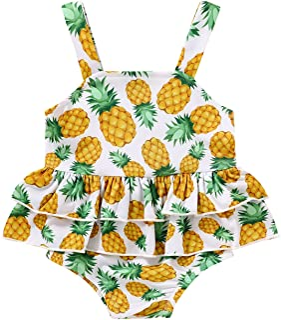 女婴泳装幼儿连体沙滩装花卉褶皱臀部夏季比基尼泳装西瓜泳衣