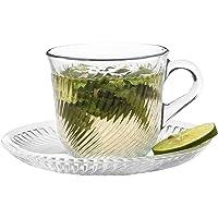 玻璃茶杯和茶碟套装,6 个透明玻璃咖啡杯和 6 个玻璃碟,复古土耳其风格 6 盎司容量