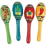Fun Express Inc. 迷你木质 Fiesta Maracas 各种颜色和设计