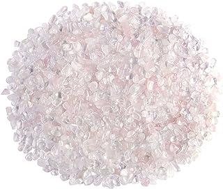 Jovivi 0.45 磅天然玫瑰水晶透明石英滚磨芯片碎石不规则**水晶宝石花瓶鱼缸植物家居装饰 玫瑰色(Rose Quartz) AJ2000631