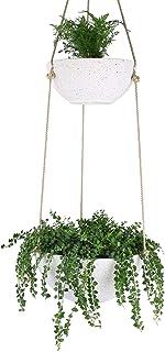 LA JOLIE MUSE 室内及室外植物悬挂花盆-现代花盆带绳子,花园花盆带排水孔,斑点白色,2件套