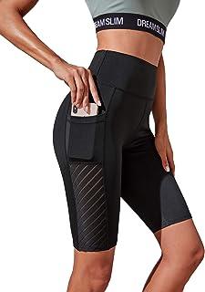MakeMeChic 女式撞色网眼高腰机车短裤健身紧身裤带口袋